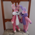Floss - hand crochet toy bunny rabbit in purple & pink ; Easter, safe, washable