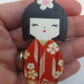 Red Japanese Doll Brooch