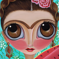 """""""Frida and the Watermelon"""" Art Print by Jaz Higgins - Colourful, Mexican, Girl"""
