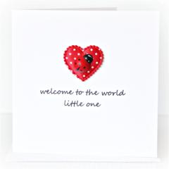 Baby Boy or Girl card ladybug and satin heart newborn neutral