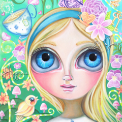 """Alice in Pastel Land"" Art Print by Jaz Higgins - Alice in Wonderland Girl"