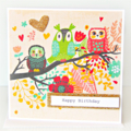 Personalised birthday card owl card gold glitter heart