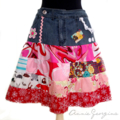 Women's Skirt Upcycled Vintage Denim and Patchwork Size L