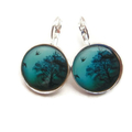 Aqua,Turquoise,Teal,Tree,Earrings, Lever back,bird,night, black tree