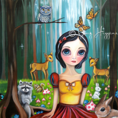 """""""Snow White in the Enchanted Forest"""" Art Print by Jaz Higgins - Girls Room"""