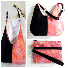 Hobo Handbag Purse & Wristlet SET in Pink Peach Batik and Black Fabric