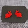 Red Rabbits~Laser Cut Acrylic Stud Earrings