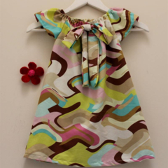 RETRO LOOK girls DRESS with BOW
