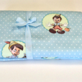Baby/Swaddle Blanket - Pinocchio, blue & white spot