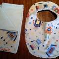 Baby Boy Bib and Burp Cloth Set - Robots! Size: SMALL