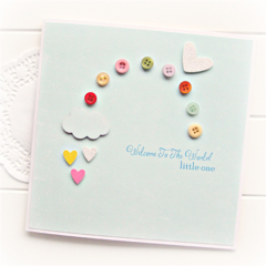 Baby Card | Rainbow Buttons | Baby Boy Girl Newborn