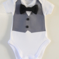 Smart Formal Onesie with Grey Vest, Buttons and a Bowtie