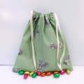 Super Cute Handmade Green Bunny Print Toy Bag/Gift Bag/Storage Bag