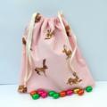 Super Cute Handmade Pink Bunny Print Toy Bag/Gift Bag/Storage Bag