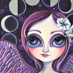 """Moon Phase Angel"" Art Print by Jaz Higgins - Astrology Fairy Girls Room Purple"