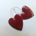 Brick Red Silver Heart Earrings