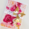 For you lush floral gold glitter butterfly paper roses & get well card