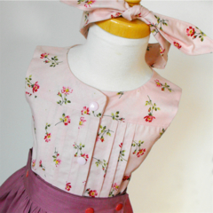 Girls Pleated Library Blouse - Pink Flower Garden - Size 0