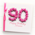 Any Age Personalised card birthday gift box hot pink 18 21 30 40 50 60 70 80 90