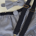 Braces and bow tie - navy, navy gingham, party clothes, wedding bow tie