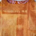 Large reversible market bag. Modern print in rust, pink and orange