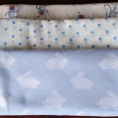 Muslin wrap/swaddle/receiving blanket, pack of three. Baby boy.