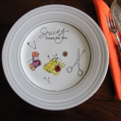 Hand painted Royal Doulton SEWING MENDS THE SOUL plate