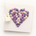 Custom heart card purples paper roses gift boxed Birthday Mother's Day