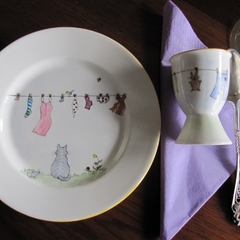 Hand painted plate and egg cup - order for Toni Killen