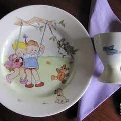 Hand painted girls on a swing Royal Doulton plate and egg cup