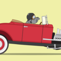 Dogs Driving Things - 'Henry the Hot Rodding Bulldog' A4 Art Print - Car