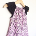 Paris Patterned Flutter Sleeve Peasant Dress, 100% Cotton, Size 1