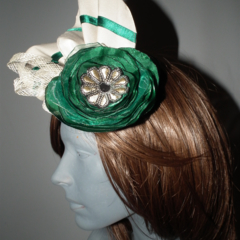 Emerald Ritz..SALE ON Green Cream sculptured headpiece fascinator hat racehat