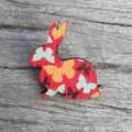 Wooden Brooch - Bunny Rabbit butterfly.