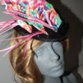 Carnivarle Time ..SALE ON multi pink green purple blue feathers fascinator hat