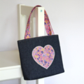 Mini Tote Bag / Little Girls Bag - Denim & Pink Heart