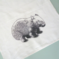 Australian wombat screen printed linen tea towel