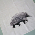 Australian echidna screen printed linen tea towel