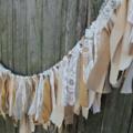 Fabric Garland. Wedding Ceremony Backdrop. Lace & Gold Garland. Bunting.