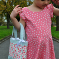 Mini Tote Bag / Little Girls Bag - Denim & Pink Heart
