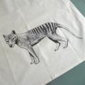 Tasmanian tiger screen printed linen tea towel