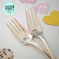 Hand stamped vintage wedding forks - choose your stamping