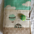 Travelling Tea Bag Wallets - Moda cotton fabric,  balloons, clouds and stars.