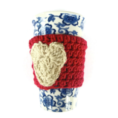 Cup cosy red cup cosy white heart cup cosies crochet Christmas Mothers' Day