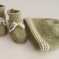 Hand Knit, 0-3m, Wool, Green / Cream, Baby Booties & Beanie Hat