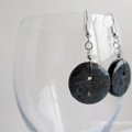 Unique grey and black mixed media earrings on buttons - with earring hooks