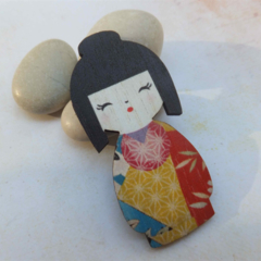 Red, Yellow and Blue Japanese Doll Brooch