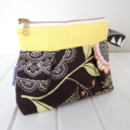 Make-up Pouch Cosmetic Purse Zipper Opening in Amy Butler Brown Fabric
