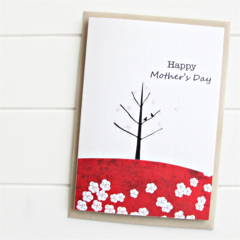 Happy Mother's Day Card, Birds and Tree, Mum Card, Red Blossoms