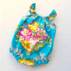 Floral Peacock Blue Playsuit  Romper - Newborn, Baby, Toddler - size 000